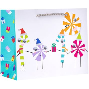 Medium Matte Christmas Gift Bags with Googly Eyes, Bright Trees (12 Pieces)