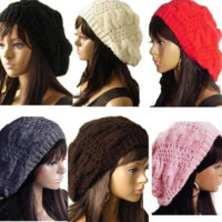 Women's Warm Winter Beret Braided Baggy Knit Crochet Beanie Beret Ski Cap Hat