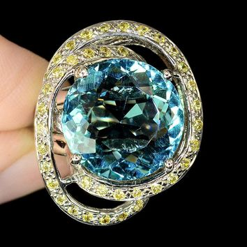 A 14K White Gold 11CT Round Cut Blue Aquamarine Yellow Sapphire Spiral Halo Ring