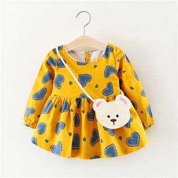 Baby Girl Mini Princess Dress Girl Long Sleeve  Dress  New Arrival Fashion Party Pageant Dresses Kids  For Girls