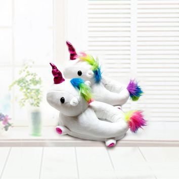 Plush Shoes Boys Girls Unicorn Cotton Slippers Warm Soft Bottom Indoor Shoes Cute Animal Unicorn Shark Shape Fun Slippers