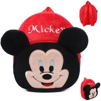 1pcs 23*21cm 15 Styles Cute Mickey Mouse Backpacks for Kids Minnie Mouse Plush Backpack Mini Cartoon Plush Backs Candy Bag Baby