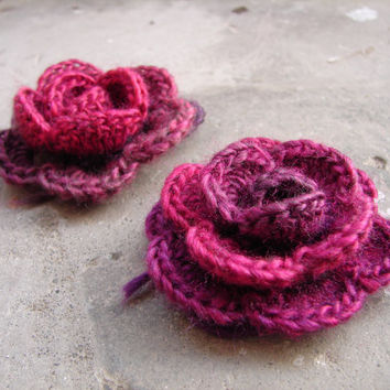 Marsala flower brooch, crocheted shawl pin, marsala, burgundy red applique