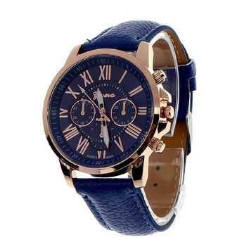 Unisex Roman Numerals Leather Watch - Multiple Colors