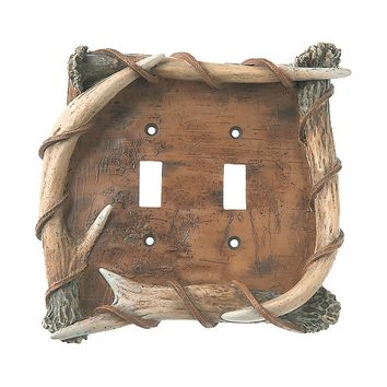 Big Sky Bark & Antler Switch Plate - Double