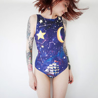 Sailboat one piece swimsuit, Girls swim suit Blue star sky Exclusive beach swimwear onepiece Galaxy retro swimsuit Bathing suit TRAVELLER
