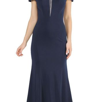 Off-Shoulder Navy Blue Long Formal Dress with Sheer Cut-Out Bodice