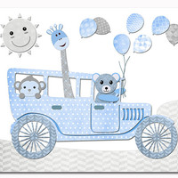 Animals nursery art teddy bear wall decor baby boy room artwork toddler gift shower decoration old car print giraffe kids poster blue grey