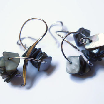 Grey dangle earrings, handmade beaded earrings of mother of pearl and sterling silver., 925 silver earhooks