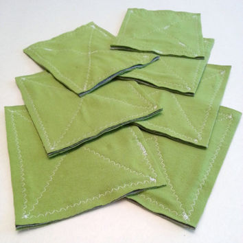 Set of 7 Lime Green Upcycled T Shirt Dish Rags / Eco Cleaning Cloths  Washable Sponge Substitute