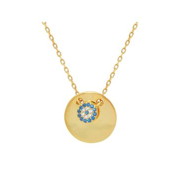 """Mini Glimmering Evil Eye Disc Pendant Necklace in Gold Plated Sterling Silver: Length 16"""" + 2"""""""