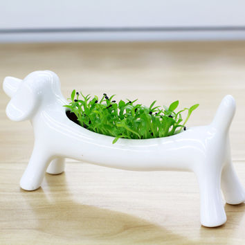 White Ceramic Animal Dog Flower Green Plant Pot Macetas Ornaments Potted Succulent Micro Mini Desktop Landscape Basin