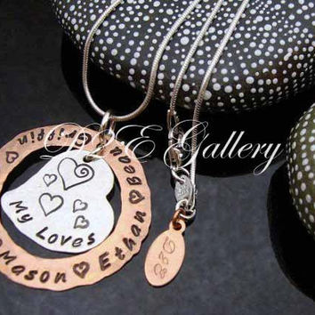 D2E mothers necklace hammered hand stamped personalized mixed metal my loves necklace sterling silver and copper