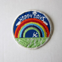70s Groovy Authentic Retro Embroidered Sew-On Hippie Patch -- Happy Days