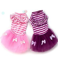 PanDaDa Pet Puppy Small Dog Princess Dress Lace Bow Tutu Dress Skirt Clothes