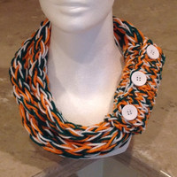 Miami Hurricanes Finger Knit Infinity Eternity Circle Chunky Winter Scarf