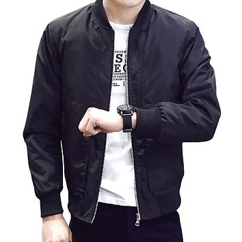 Men's Jackets Thin Solid Fashion Bomber Jacket