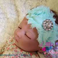 Aqua Blue Newborn Girl Flower Headband, Baby Headband, newborn baby girl headbands photography props, Toronto, Canada