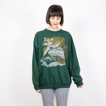 Vintage Hunter Green Sweatshirt Forest Green Mountain Lion Cat Cougar Print Nature Novelty Print Pullover Jumper 1990s 90s L XL Extra Large