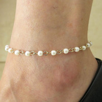 Jewelry Shiny Chain Diy Pearls Anklet = 5893003969