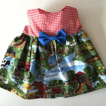 Baby Girl DRESS Newborn to Toddler baby shower gift, red gingham, blue bow, farm scene cotton skirt dogs, cows, barn, pond, ducks, tractor