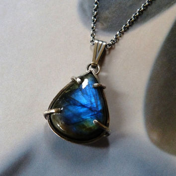 Labradorite silver pendant, metalwork necklace, blue flashy stone, statement necklace, gift for wife, gift for mother, OOAK jewelry