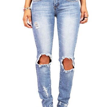 Blow Out Low-Rise Straight Jeans