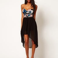 Motel Chika Bandeau Hi Lo Dress in Eastern Floral at asos.com