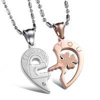 "Magicpieces "" I Love You ""Heart AAA High Quality Cz Titanium Stainless Steel Couple Necklace"