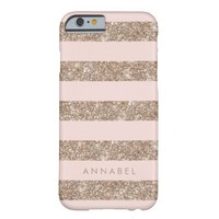 Rose Gold Glitter & Pink Stripe Personalized Barely There iPhone 6 Case