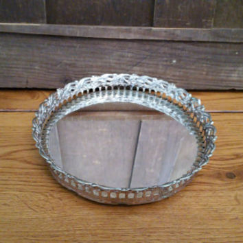 Vintage Small Ornate Gold Toned Round Hollywood Regency Style Mirrored Dresser Vanity Tray