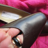 Amaizing Vintage Shoes ETIENNE AIGNER Brown Leather Medium Heels Women Loafers Size 8.5 M/39  Made in Spain