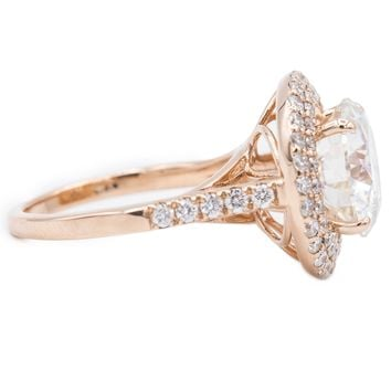 10mm Round Moissanite 14K Rose Gold  Halo Cathedral Engagement Ring 4.60 Total Carat Weight