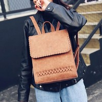 Retro Leisure Travel British Square Woven College PU Weaving Backpack