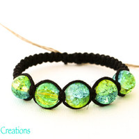 Crackle Bead Bracelet, Black Macrame Hemp Jewelry, Gifts for Her, Eco Friendly Accessory