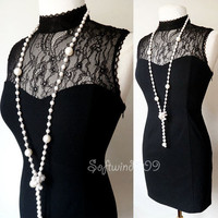 NEW Forever 21 Black Victorian Sheer Floral Lace Yoke Club SEXY Bodycon Dress