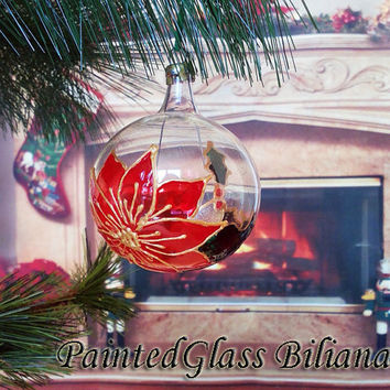 PERSONALIZED Hand painted glass ball Christmas ornament  Winter poinsettia flower in red, green and gold color