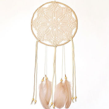 Boho dream catcher, wall hanging, pastel shades, powder, large dreamcatcher, crochet doily, mandala, unique, handmade, bedroom, home decor