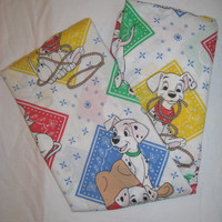Vintage Disney 101 Dalmatians TWIN Size Fitted Bedding Sheet Western Cowboy Craft Fabric Clean TLC