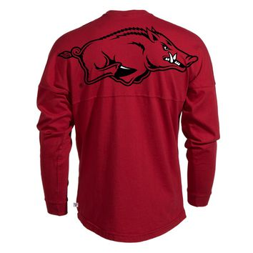 Official NCAA University of Arkansas Razorbacks GO BIG RED HOGS! Arkansas Fight! Women's Long Sleeve Spirit Wear Jersey T-Shirt