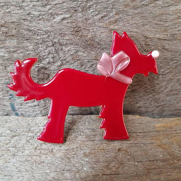 Lea Stein Ploukie Dog Brooch , Signed With Original Sticker Lea Stein Dog Brooch