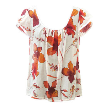 Floral Cotton Blouse, White and Red Flowers, Summer Blouse, Floral Sleeves, Designers Shirt, Women Blouse