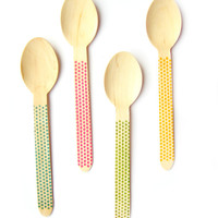 20 Wooden Forks, Knives or Spoons - Dot Pattern - Wooden Party Cutlery, Party Supplies, Party Utensils - Eco-friendly Wooden Utensils