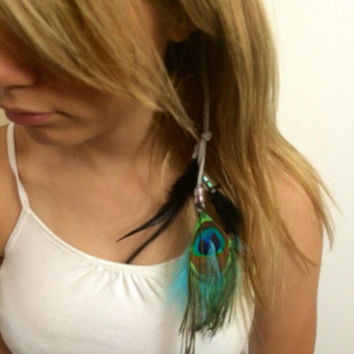 Long Feather, Hair, Extension, Feather Hair Extension, Feather Headdress, Bohemian, striped, Native, Nature , Feather Hair clip, peacock