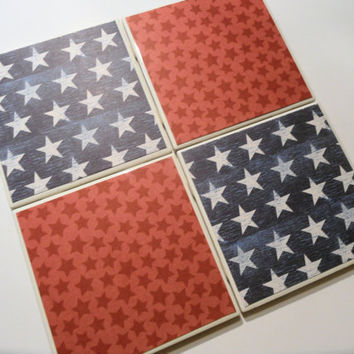 Red and Blue Patriotic Stars Ceramic Coasters set by myevilfriend