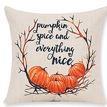 Pumpkin Maple Leaf Wreath Pumpkin Spice And Everything Nice Happy Thanksgiving Halloween Gifts New Room Sofa Car Decorative Cotton Linen Throw Pillow Case Cushion Cover Square 18 X 18 Inches