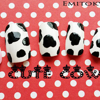 Kawaii Nails,Cute Cow,x24Nails,Pretty Nails,Press on Nails,Flase Nails,Hand painted False nails,Free Shipping