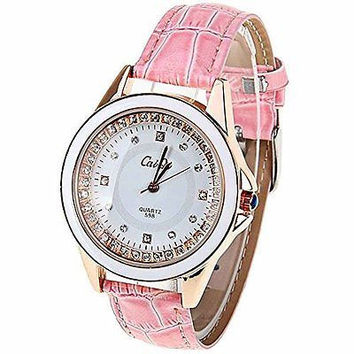 Caiqi Womens Pink and White and Gold w/ Rhinestone Watch with Pink Leather Bands