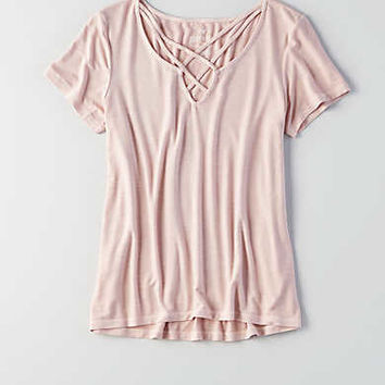 AEO Soft & Sexy Cage Front T-Shirt , Purple