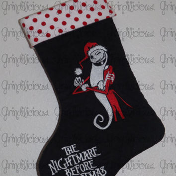 Embroidered Jack Skellington Nightmare Before Christmas Quilted Stocking